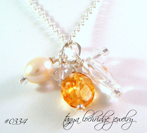 Citrine, Crystal Quartz & Freshwater Pearl Sterling Silver Necklace