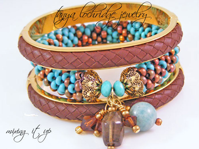 Milky Aqua & Smoky Quartz Gemstone Bangle Bracelet