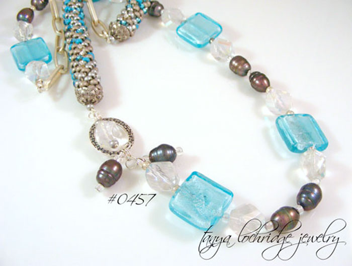 Aqua Lampwork Bead, Pearl & Czech Glass Rope Necklace