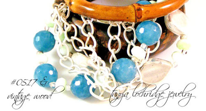 Angelite Gemstone & Silver Leaf Five-Strand Bracelet