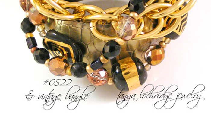 "Kazuri Bead ""Three's the Charm"" Black & Gold Bracelet"
