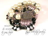 Pink-Black Lampwork Glass Bead Bracelet