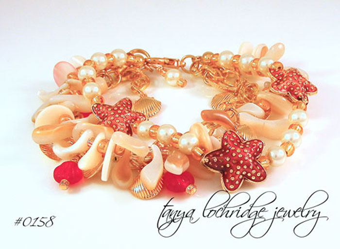 Starfish & Natural Shell Charm Bracelet