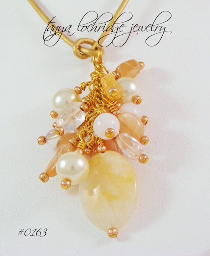 Yellow Calcite, Snow Quartz & Moonstone Gemstone Leather Cord Necklace