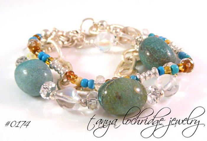 Chrysocolla Linked Chain Bracelet
