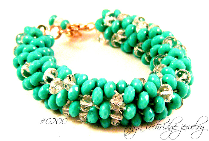 Turquoise & Crystal Bead Soft Bangle Bracelet