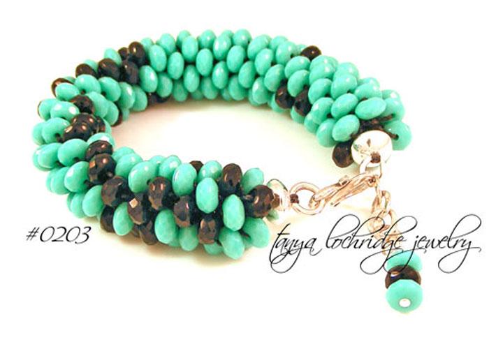 Turquoise & Jet 50s Inspired Bead Rope Bangle Bracelet