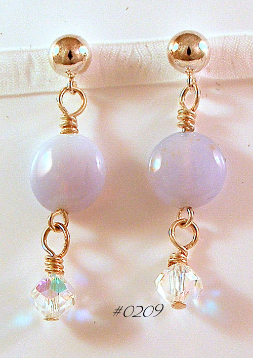 Blue Chalcedony Ball Post Earrings