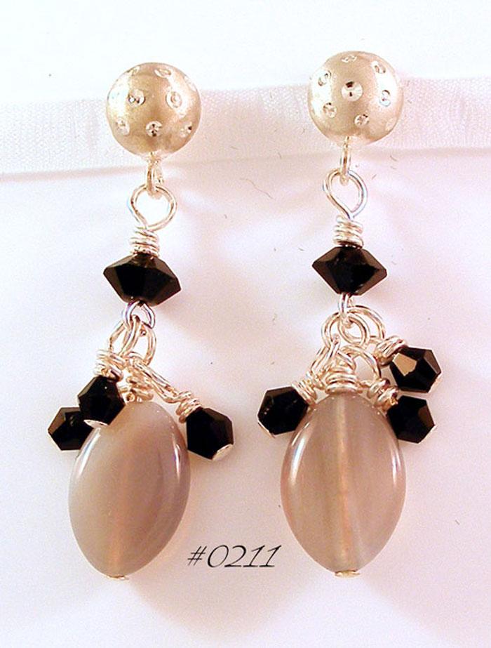 Botswana Grey Agate Gemstone Drop Earrings