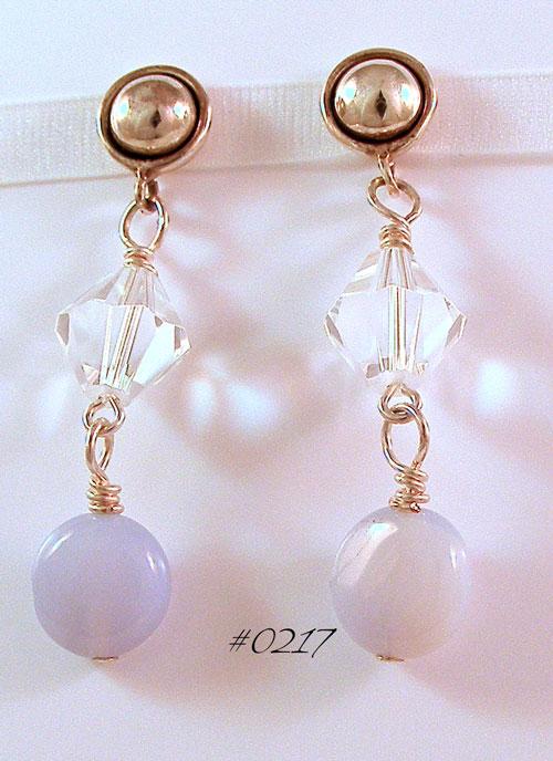 Blue Chalcedony Oxidized Dome Earrings