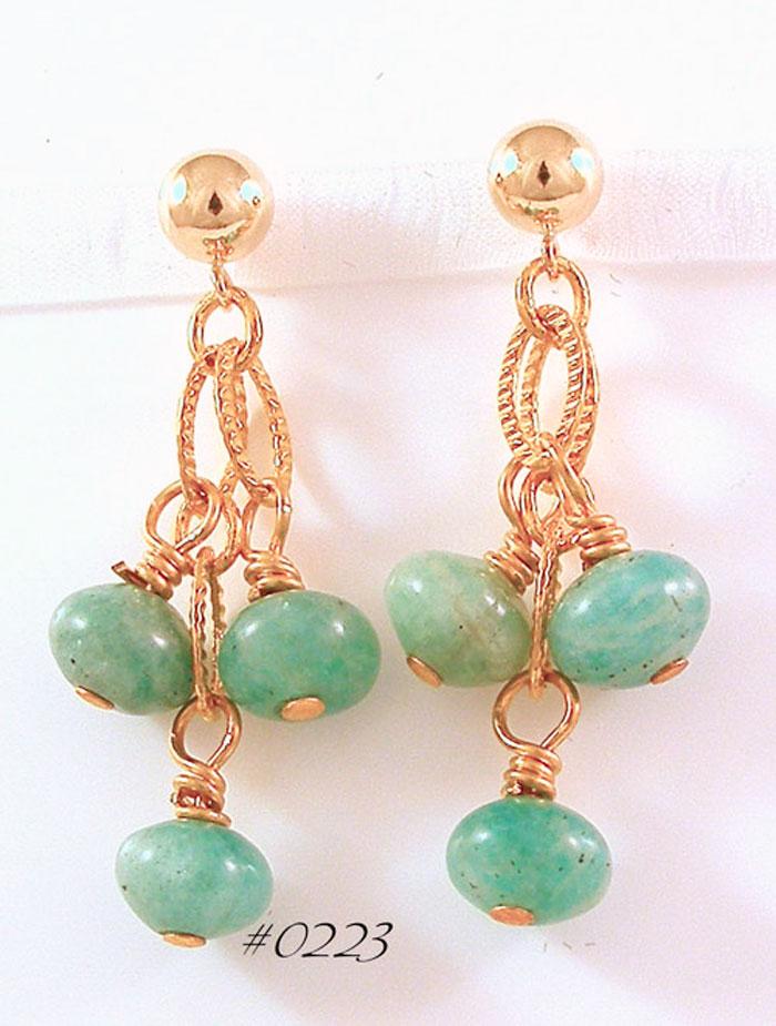 Amazonite Gemstone Etruscan-Style Drop Earrings