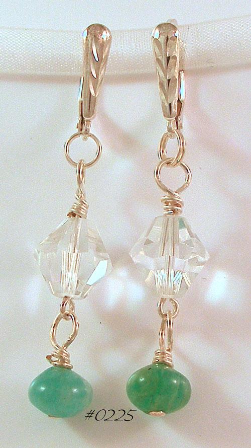 Amazonite & Swarovski Crystal Earrings
