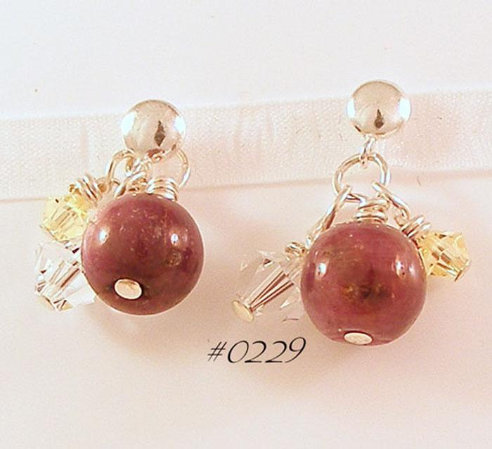Ruby Gemstone Sterling Silver Drop Earrings
