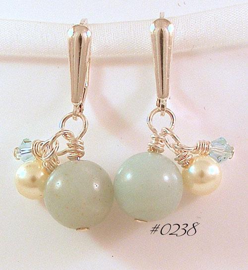 Amazonite & Pearl Earrings