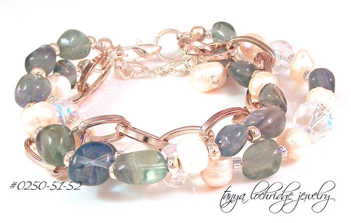 Fluorite Gemstone & Pearl Bracelet