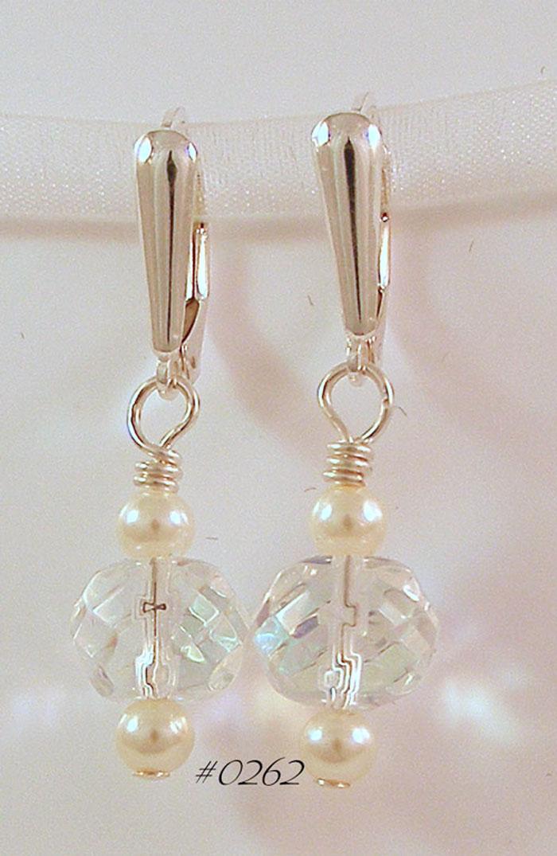 Crystal & Ivory Pearl Drop Earrings