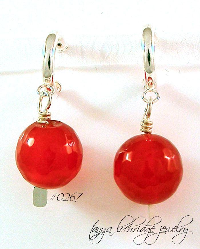 Carnelian Bold Gemstone Hoop Sterling Silver Earrings