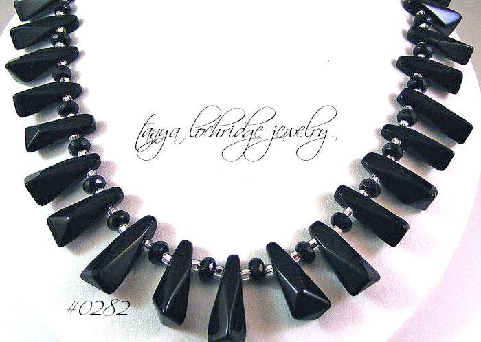 Crystal Quartz Black Collar Necklace