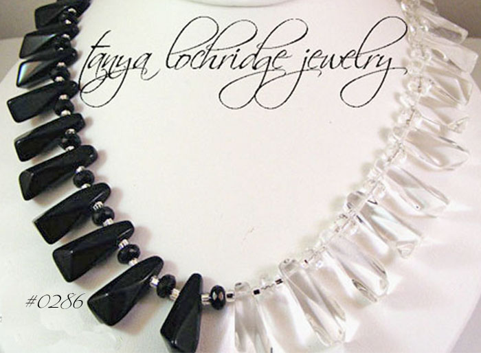 Crystal Quartz Black and Clear Gemstone Necklace