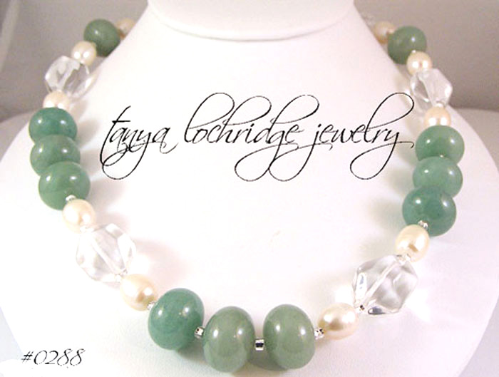 Green Aventurine, Crystal Quartz, Pearl Gemstone Necklace