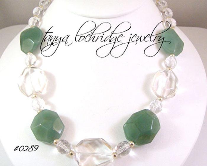 Green Aventurine & Crystal Quartz Gemstone Necklace