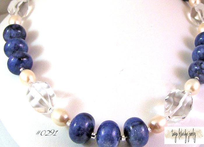 Sodalite, Crystal Quartz & Pearl Gemstone Necklace