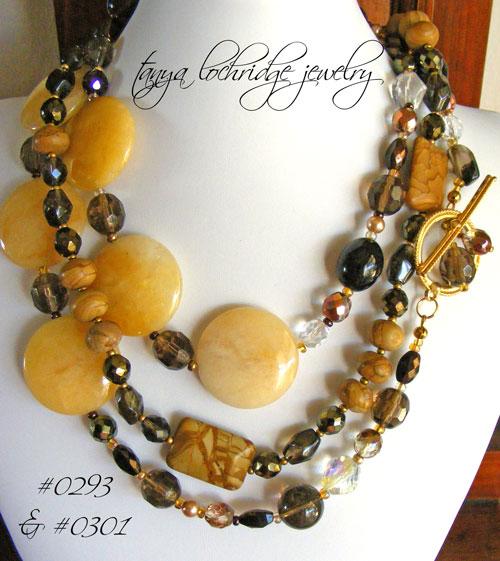 "Yellow Jade & Smoky Quartz Gemstone 42"" Necklace"