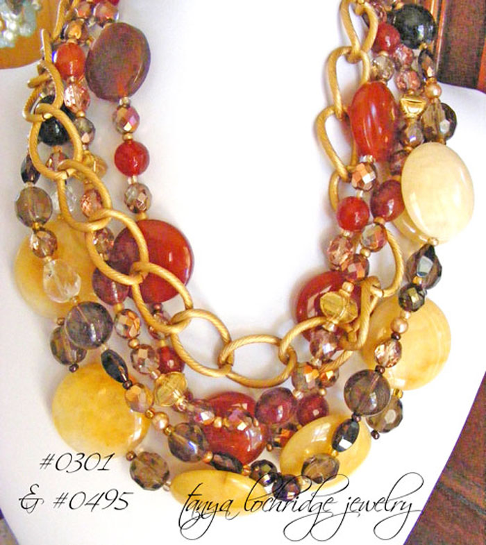 "Yellow Jade & Smoky Quartz Gemstone 42"" Necklace"