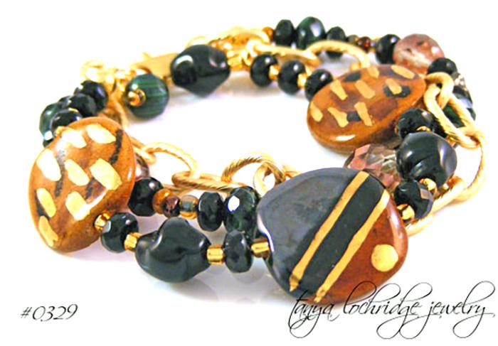 Kazuri Bead Serengeti & Gold Bracelet