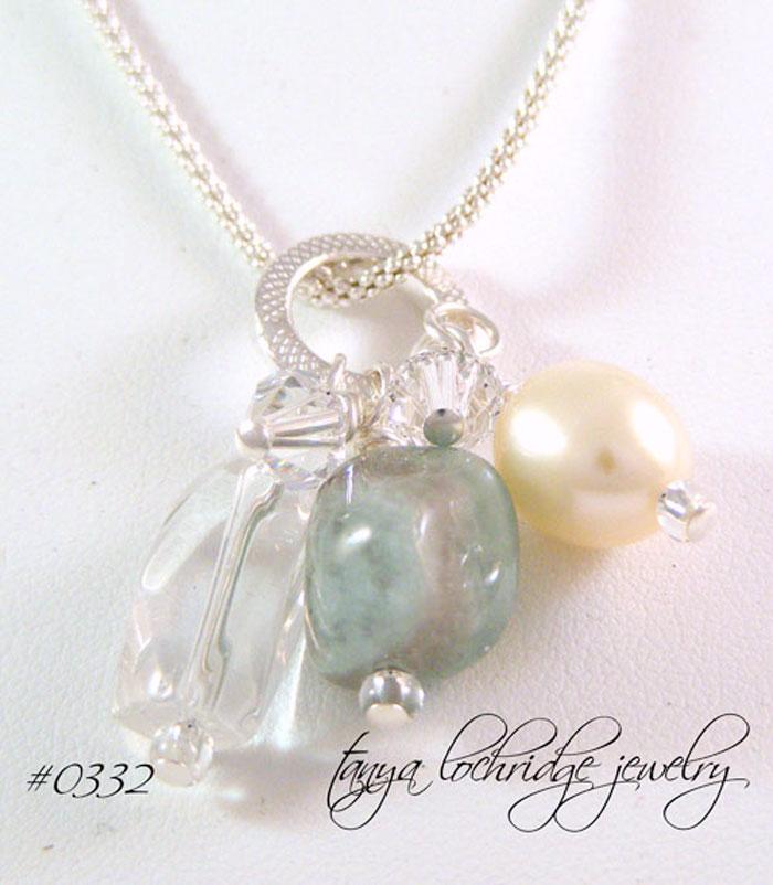 Milky Aqua, Crystal Quartz Gemstone, Pearl Necklace