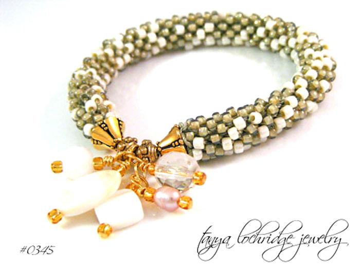 Taupe-Cream Pearl Charm & Czech Glass Bead Rope Bangle