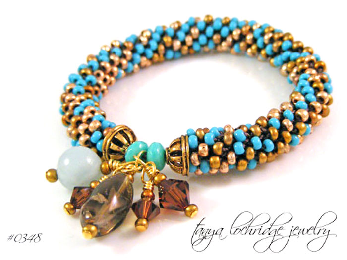 Milky Aqua & Smoky Quartz Gemstone Bangle