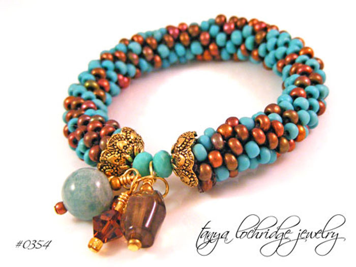 Russian Amazonite & Smoky Quartz Gemstone Bangle