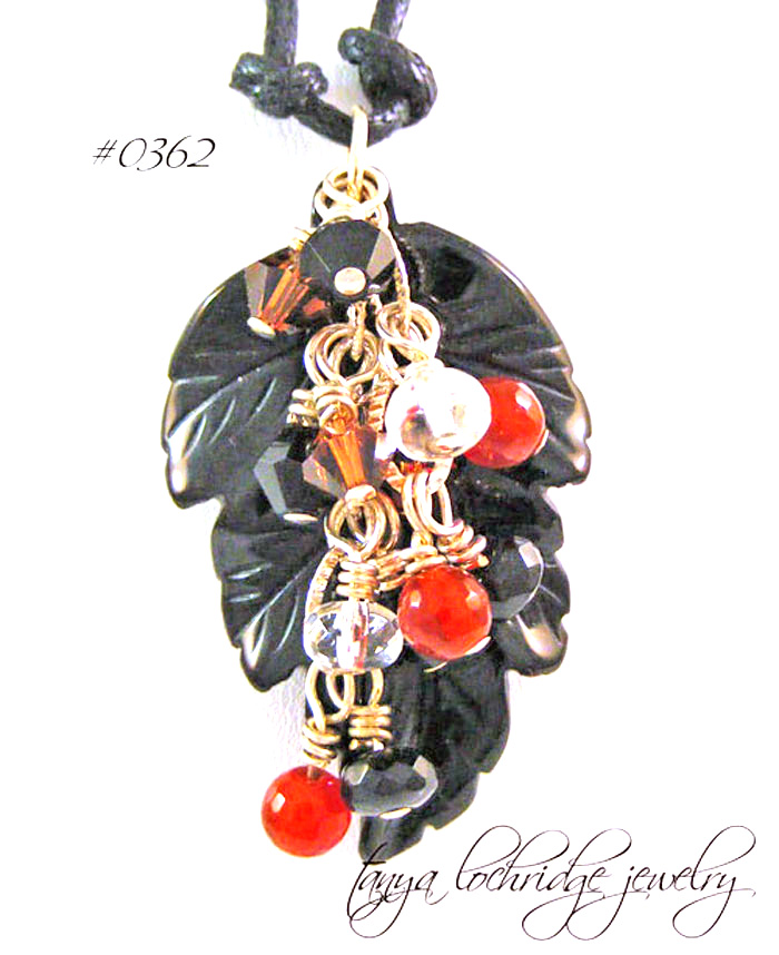 Onyx Carved Leaf & Carnelian Gemstone Pendant