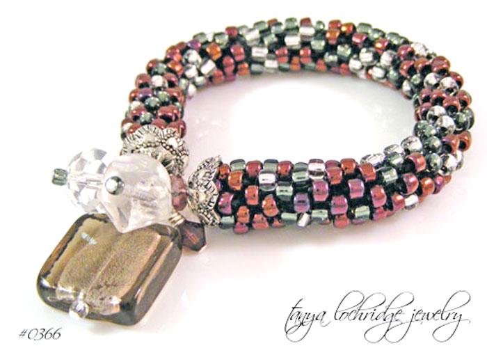 Burgundy & Gunmetal Lampwork Glass & Swarovski Crystal Bracelet