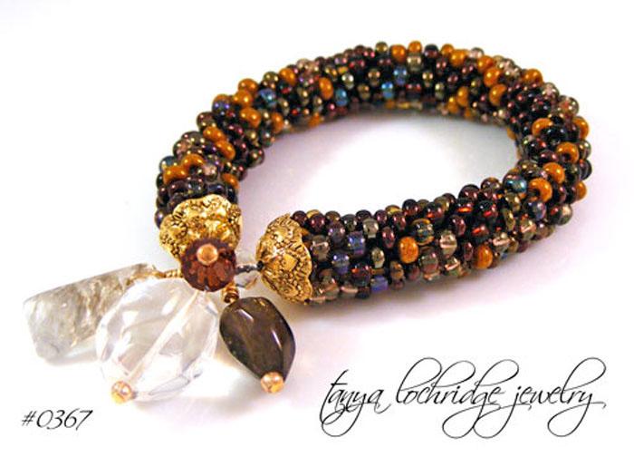 Rutilated, Clear & Smoky Quartz Gemstone Bangle