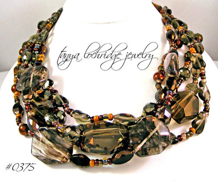 Smoky Quartz & Rutilated Quartz Gemstone Necklace