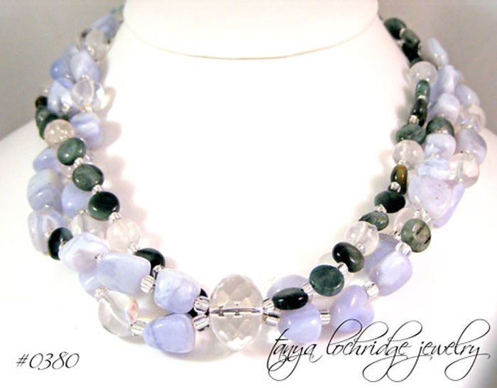 Blue Chalcedony & Eagle Eye Agate Gemstone Sterling Silver Necklace