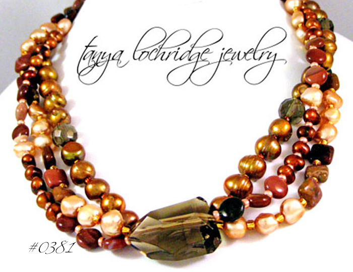 Smoky Quartz, Imperial Jasper, Pearl Gemstone Necklace