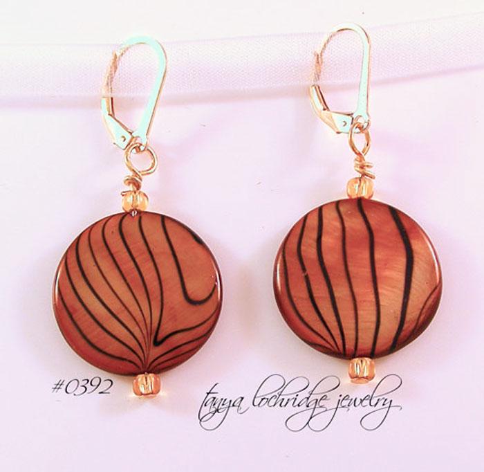 Brown-Black Mother-of-Pearl Gold-Filled Drop Earrings