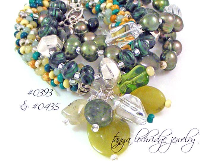 Green Jade, Crystal Quartz Gemstone, Pearl Sterling Silver Bracelet