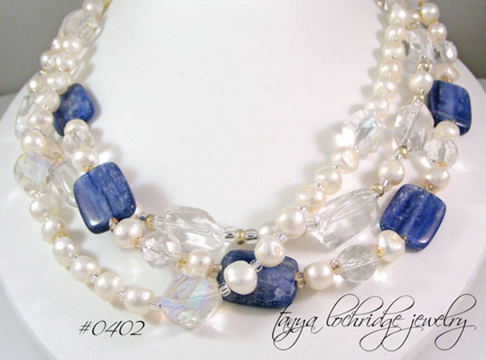 Kyanite, Crystal Quartz, Pearl Gemstone Necklace