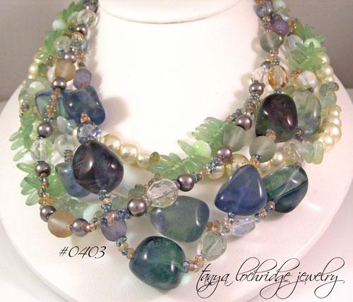 Tanya Lochridge Jewelry Flourite Aquamarine Necklace