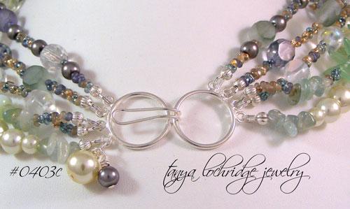 Fluorite & Aquamarine Gemstone Five Strand Necklace