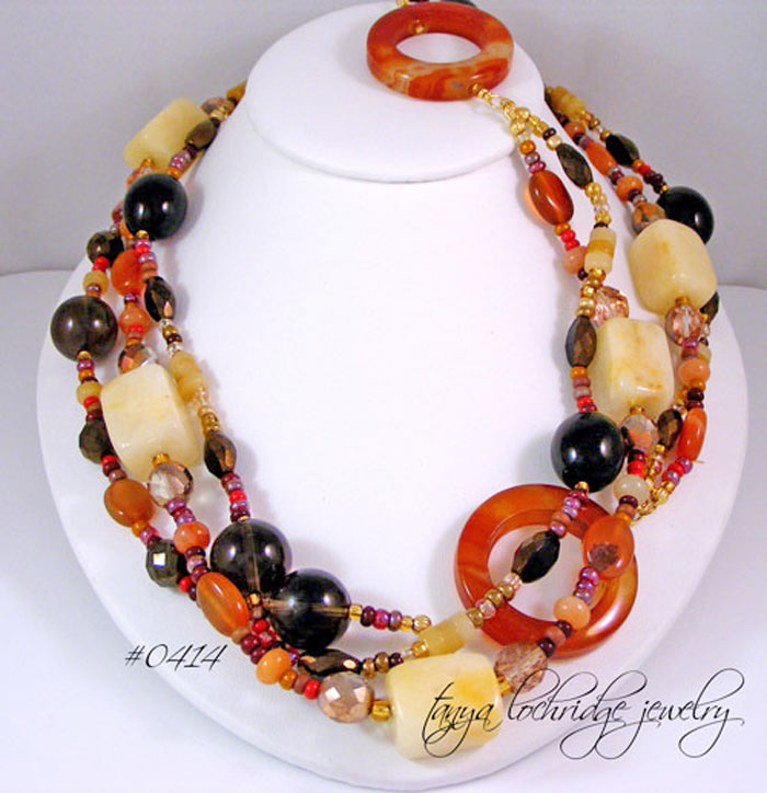"Carnelian, Smoky Quartz, Aragonite, Jade & Agate Gemstone 48"" Gold Vermeil Necklace"
