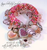 Pink Heart Lampwork, Rose Quartz Gemstone, Czech Glass Bangle