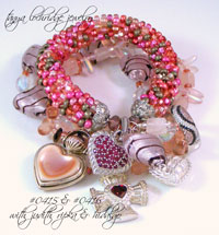 Pink & Black Heart Lampwork, Czech Glass & Rose Quartz Gemstone Bracelet