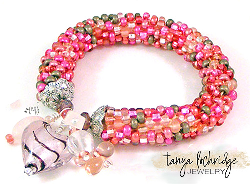 Pink Heart Lampwork, Rose Quartz Gemstone, Czech Glass Bangle