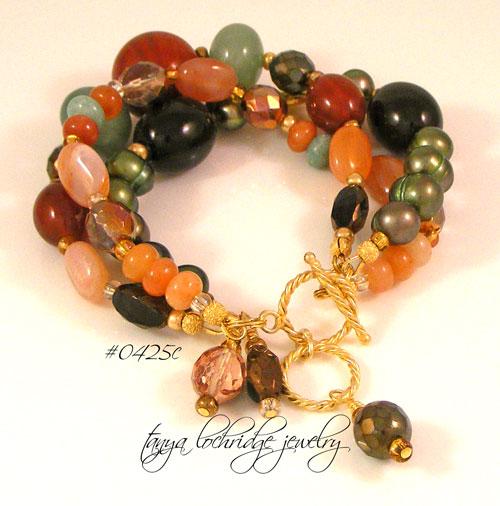 African Opal, Carnelian, Smoky Quartz, Red Poppy Jasper & Aventurine Gemstone Gold Vermeil Bracelet