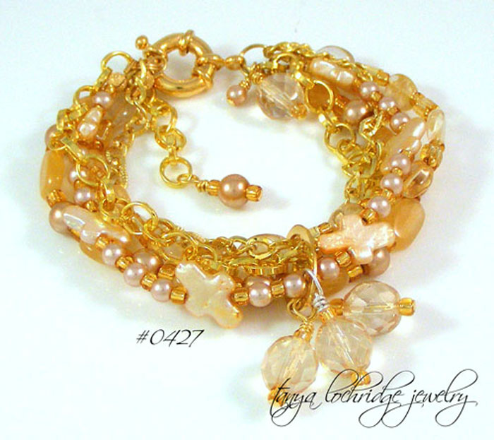 Pearl Cross, Citrine, Moonstone Gemstone Bracelet